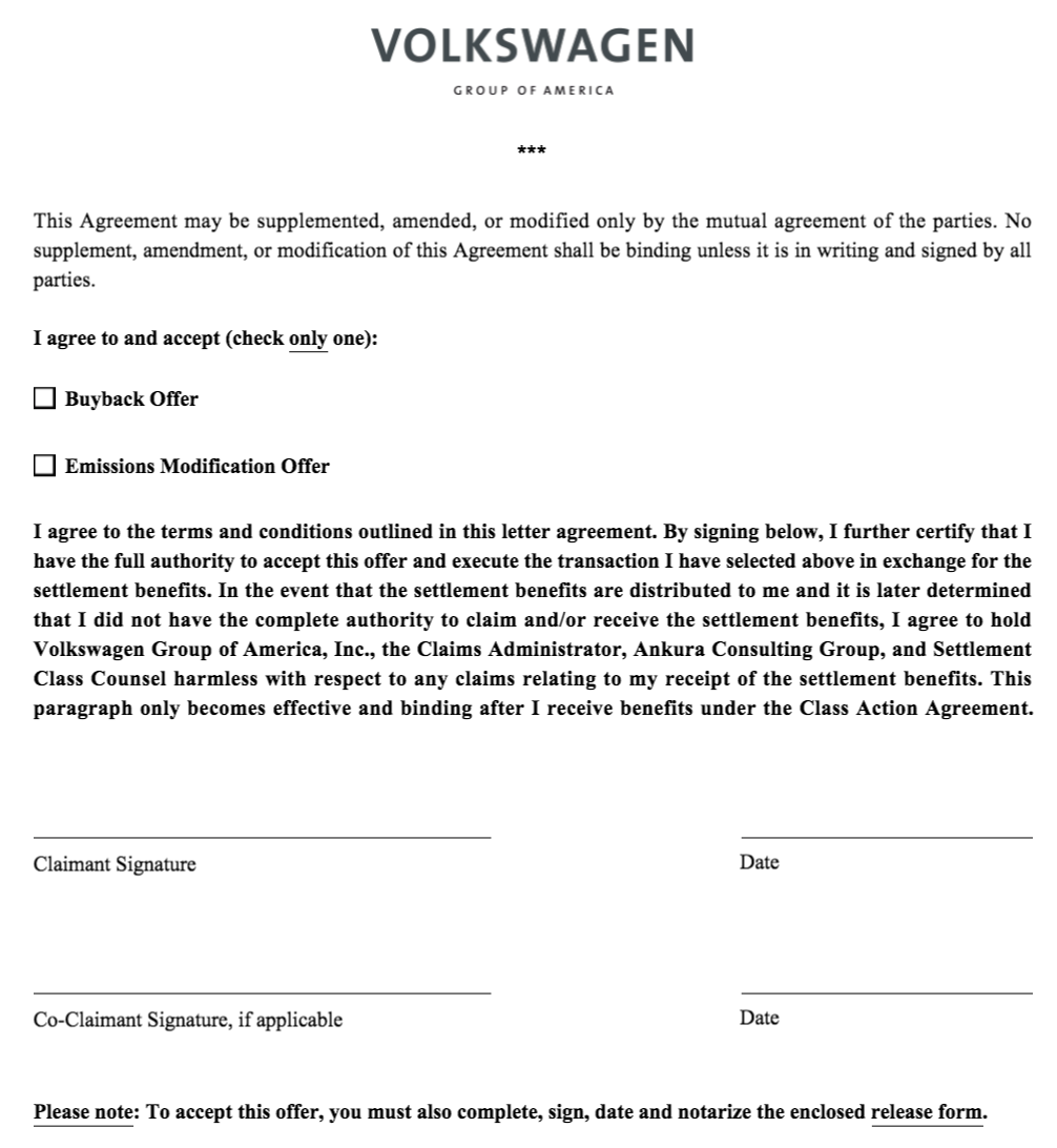 VW Claim Form