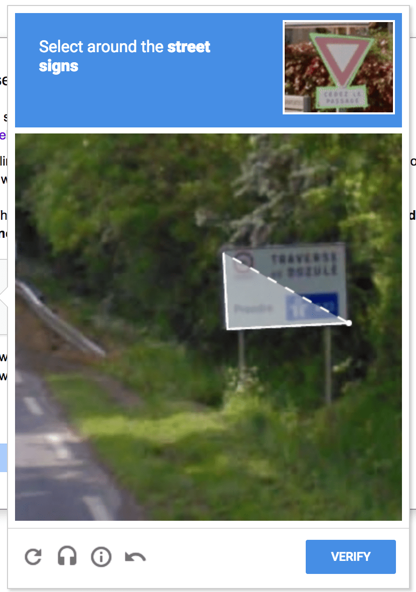 Google Street Sign Selection- reCAPTCHA